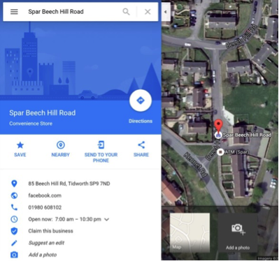 Google maps store location screenshot