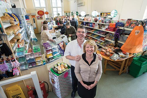 """<figcaption></noscript>Paul and his wife Gail have developed an old school into a well laid-out store, with attractive wooden shelving and dedicated areas for categories such as fresh produce</figcaption>"""" width=""""500″ height=""""333″ /> Paul and his wife Gail have developed an old school into a well laid-out store, with attractive wooden shelving and dedicated areas for categories such as fresh produce</figure> <figure class="""