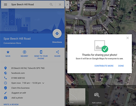 Screenshot of final google maps upload page
