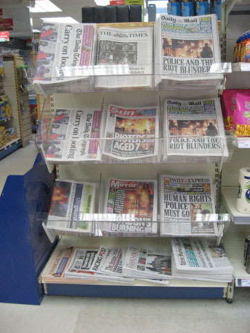 newspaper, range, display