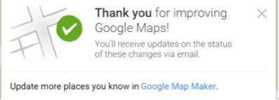 google maps thank you message