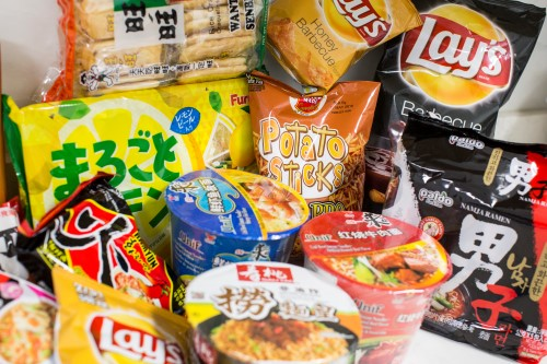 New York City, U.S.A - February 10, 2016: Group of junk food that bought in chinese supermarket