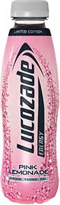 Lucozade Pink Lemonade bottle