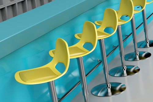 Row of modern bar stools at the bar