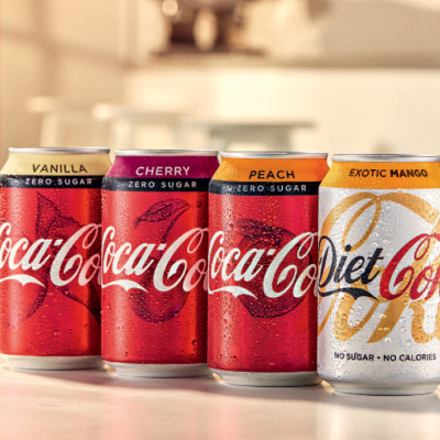Coca-Cola can flavours Vanilla, Cherry, Peach, Exotic mango diet