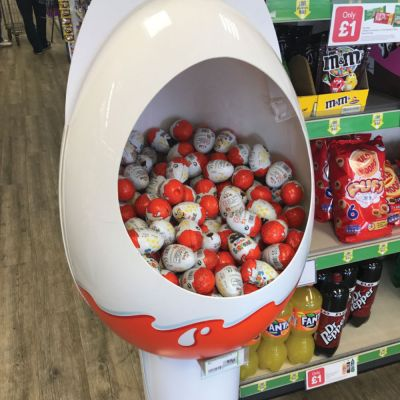 This a display of display of kinder eggs